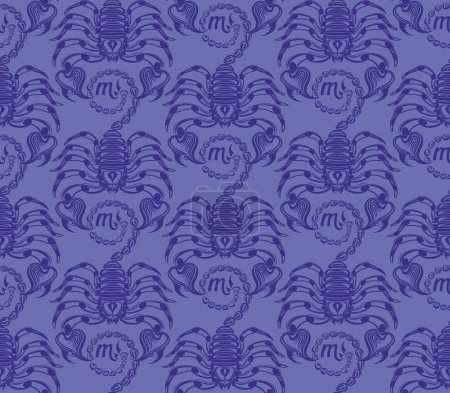 Repaint seamless pattern blue scorpions