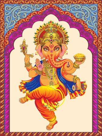 Ganesha sur un motif de fond orné d'arcs