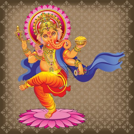 Dancing Ganesha on ornamented background