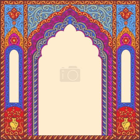 Background ornamented oriental patterned image in the form of an arch.