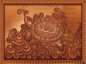 woodcarving turtle carved on the board