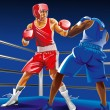 Постер, плакат: Two boxers fighting on the ring one is punching another