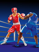 Two boxers fighting on the ring one is punching another