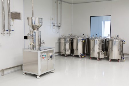 Photo production, clean room with stainless steel hardware