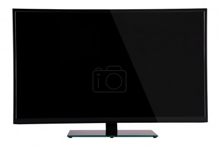 modern slim plasma TV on black glass stand isolated on a white b