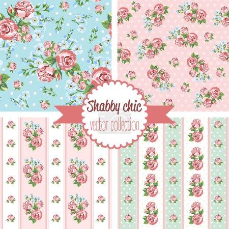 Illustration pour Shabby Chic Rose motifs. Ensemble modèle sans couture. Vintage motif floral, arrière-plans. Illustration vectorielle - image libre de droit