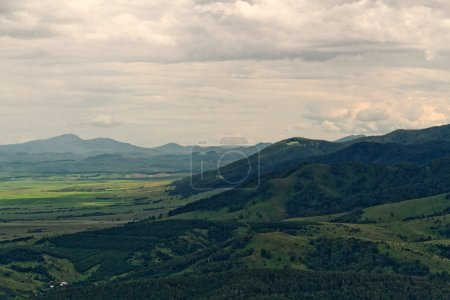 Aerial view mountains hills flat land