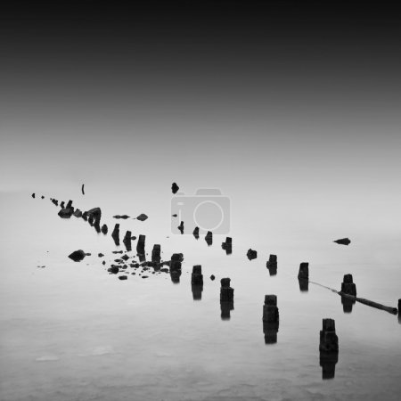 Foto de Foto de exposición diurna del mar muerto. estuario kujalnik, ucraniano - Imagen libre de derechos