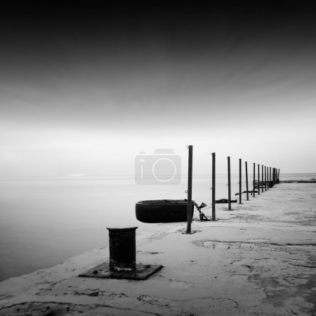 Photo for Daytime long exposure black and white seascape scene - Royalty Free Image