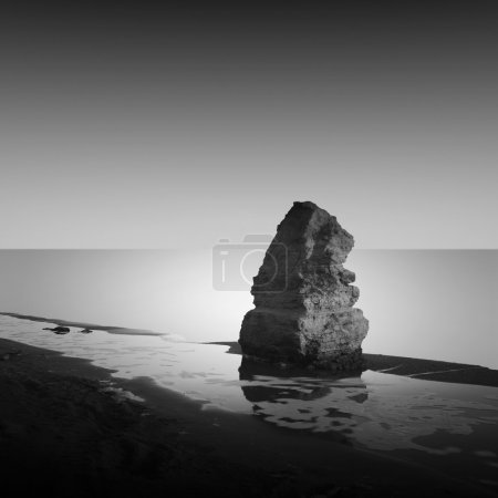 Photo for Daytime long exposure seascape with object in the sea. The photo taken in black and white. Black sea, Odessa, Ukraine - Royalty Free Image
