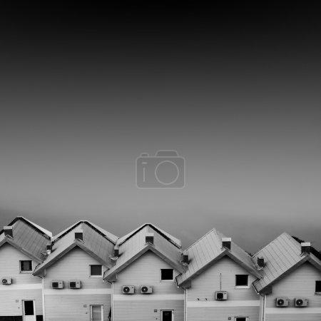 Foto de Cabaña de mar blanco y negro - Imagen libre de derechos