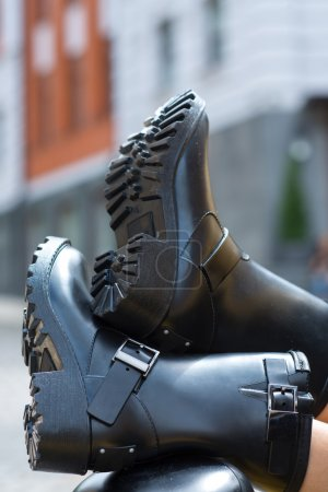 Close up of stylish female shoes.  Outdoor fashion shoes footwea
