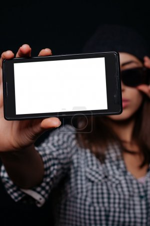 Hipster girl taking picture smartphone self-portrait, screen view