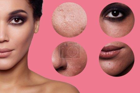 Photo pour Concept soin de la peau. Peau de beauté jeune femme avant et après la procédure sur fond, fille, fille mulâtre. plan studio - image libre de droit
