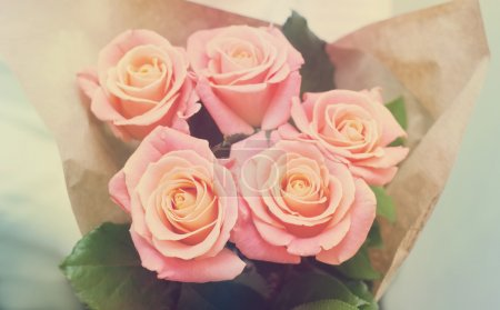 bouquet of pink rose gentle tones