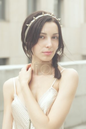 Photo for Beautiful woman in beige dress  glamour fashion - Royalty Free Image