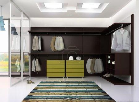 Photo pour 3d rendu de luxe appartement dressing intérieur - image libre de droit