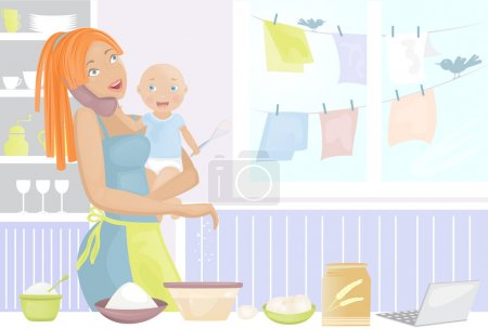 Mother with baby on kitchen talking on phone
