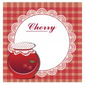 Abel for cherry jam with white napkin