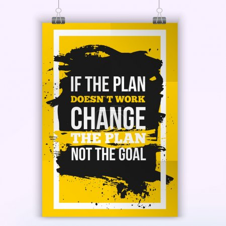 Illustration for Motivation Business Quote Change the plan Poster. Design Concept on paper with dark stain - Royalty Free Image