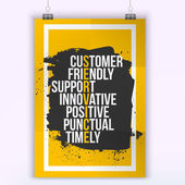 Customer service quote on grunge stain Mock up for quotes A4 Easy to edit