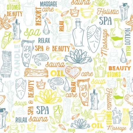 Illustration for Spa elements seamless background with typography, vector illustration. Natural cosmetics set with bottles, candles, cream, stones. - Royalty Free Image