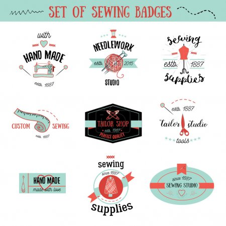 Set of colorful vintage tailor labels, design elements and badges. Sewing shop, needlework signs.