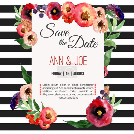 Illustration for Vector watercolor template save the date with floral frame, leaves. Artistic vector design for banners, greeting cards,sales, posters - Royalty Free Image