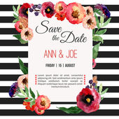 Vector watercolor template save the date with floral frame leaves Artistic vector design for banners greeting cardssales posters
