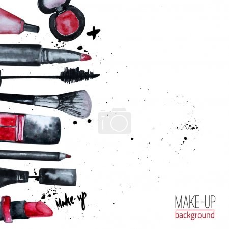 Vector watercolor Glamorous make up set of  cosmetics with nail polish and lipstick.Creative design for card, web design background, book cover.EPS10