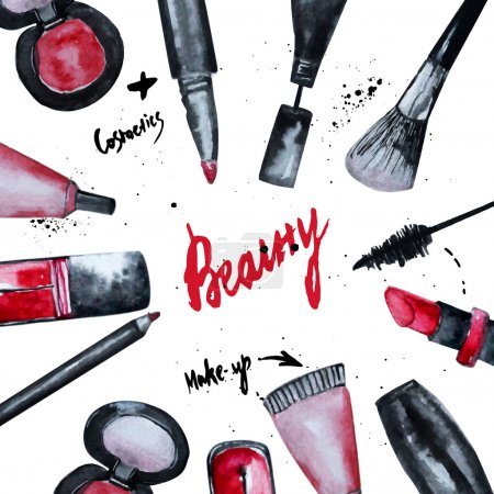 Illustration for Vector watercolor Glamorous make up set of  cosmetics with nail polish and lipstick.Creative design for card, web design background, book cover. - Royalty Free Image