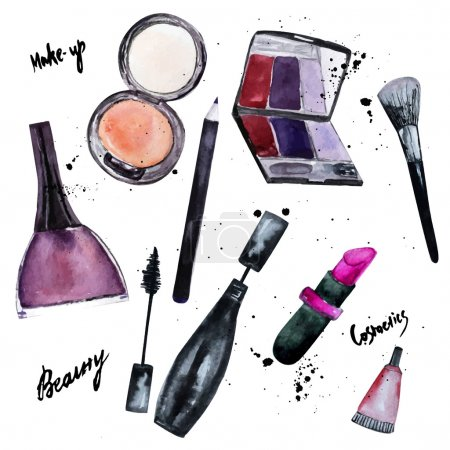Vector watercolor set of Glamorous make up set of  cosmetics with nail polish and lipstick.Creative design for card, web design background, book cover.EPS10
