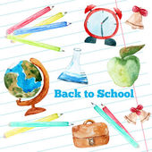 Vector watercolor back to school poster with supplies -  alarm clock, pencils, globe on notebook paper background.
