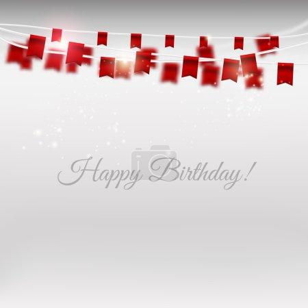 Illustration pour Drapeaux de vacances vectoriels mis sur fond gris avec des particules brillantes. Joyeux anniversaire carte - image libre de droit