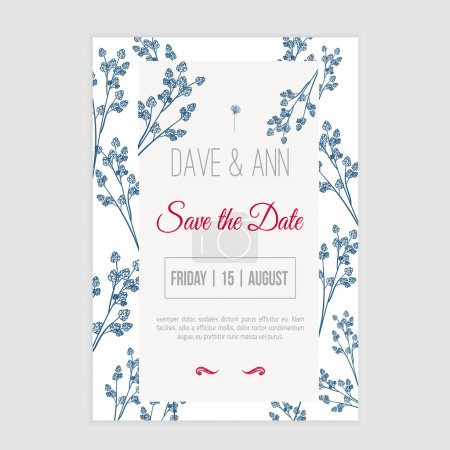 Illustration for Vector save the date card  with hand drawn herbals in rustic style - Royalty Free Image