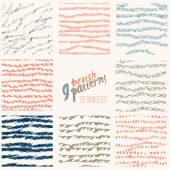 Vector hand drawn set of stylish line brush patterns EPS10
