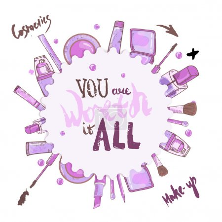 Illustration for Vector glamorous make up set  You worth it all with concealer, nail polish and lipstick.Creative design for card, web background, book cover - Royalty Free Image