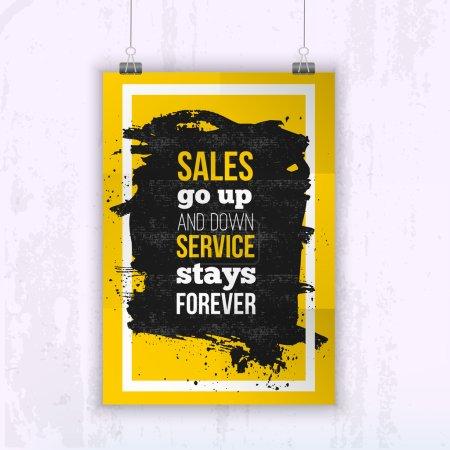 Illustration pour Devis vente monter et descendre, service reste pour toujours - affiche des affaires pour votre mur. Mock optimisé pour votre conception - image libre de droit