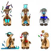 six funny dogs emotions icons