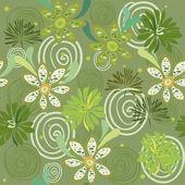 seamless swirly green floral pattern