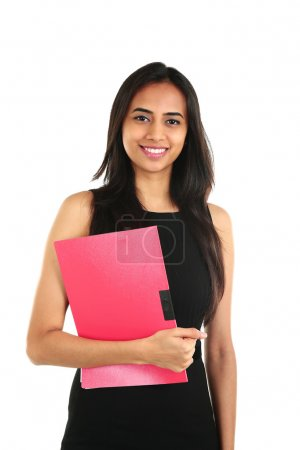 Close up portrait of a smiling Indian business woman with a folder