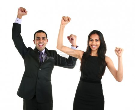 Asian businessman and business woman celebrating a triumph.