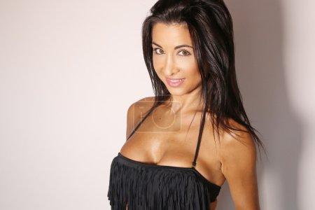 sexy woman wearing a black bikini