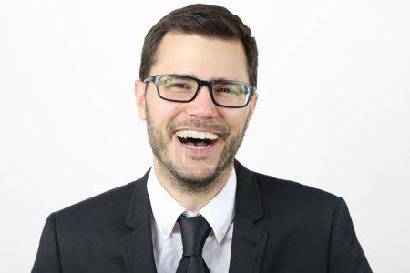 businessman laughs