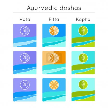 Illustration for Ayurveda vector illustration. Ayurvedic elements. Set of flat icons with ayurvedic doshas vata, pitta, kapha.  Ayurvedic body types. Ayurvedic symbols in linear style. Alternative medicine. - Royalty Free Image