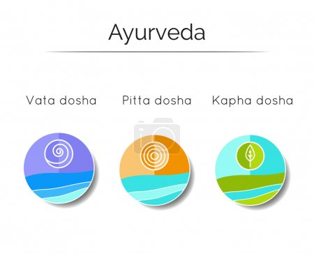 Illustration for Ayurveda vector illustration. Ayurveda doshas vata, pitta, kapha. Ayurvedic body types and symbols in linear style. Alternative medicine. Infographic with flat icons. Indian medicine. Holistic system. - Royalty Free Image