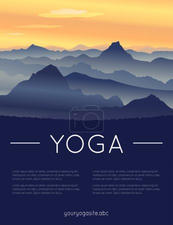 Yoga poster with mountain landscape.