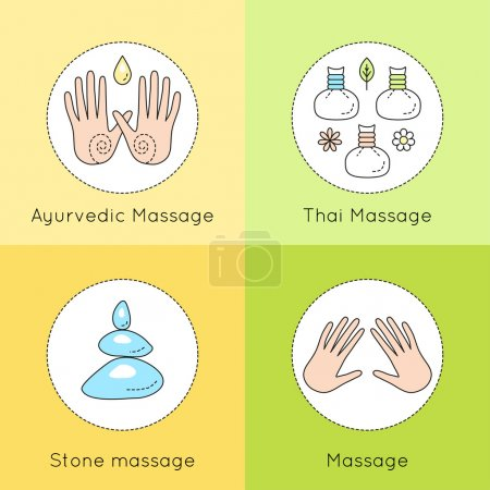 Illustration for Set of vector linear icons with types of massage. Ayurvedic massage illustration. Logo for Thai massage. Classic massage concept. Stone massage emblem. - Royalty Free Image