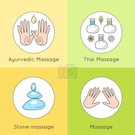 Illustration for Set of vector linear icons with types of massage. Ayurvedic massage illustration. Logo for Thai massage. Classic massage concept. Stone massage emblem. - Royalty Free Image
