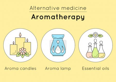 Illustration for Vector set of aromatherapy linear icons. Aroma candles, aroma lamp, essential oils as tools of alternative medicine. - Royalty Free Image